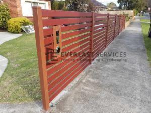 A164 - Manor Red Aluminium Slats Fencing with 90mm Jarrah Slats