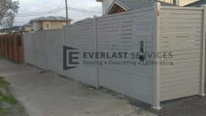 A61 - Off White Slats Fencing Front View