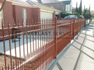 SF118 – Manor Red Double Spear Steel Fencing Side View