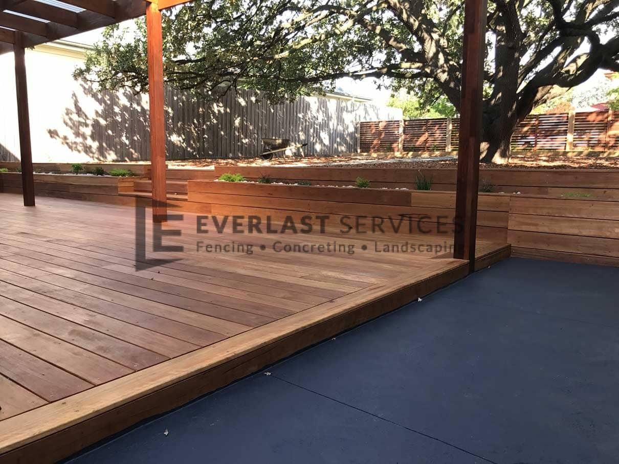 T63 - Blackbutt Decking + Colour Concrete + Raised Garden Box
