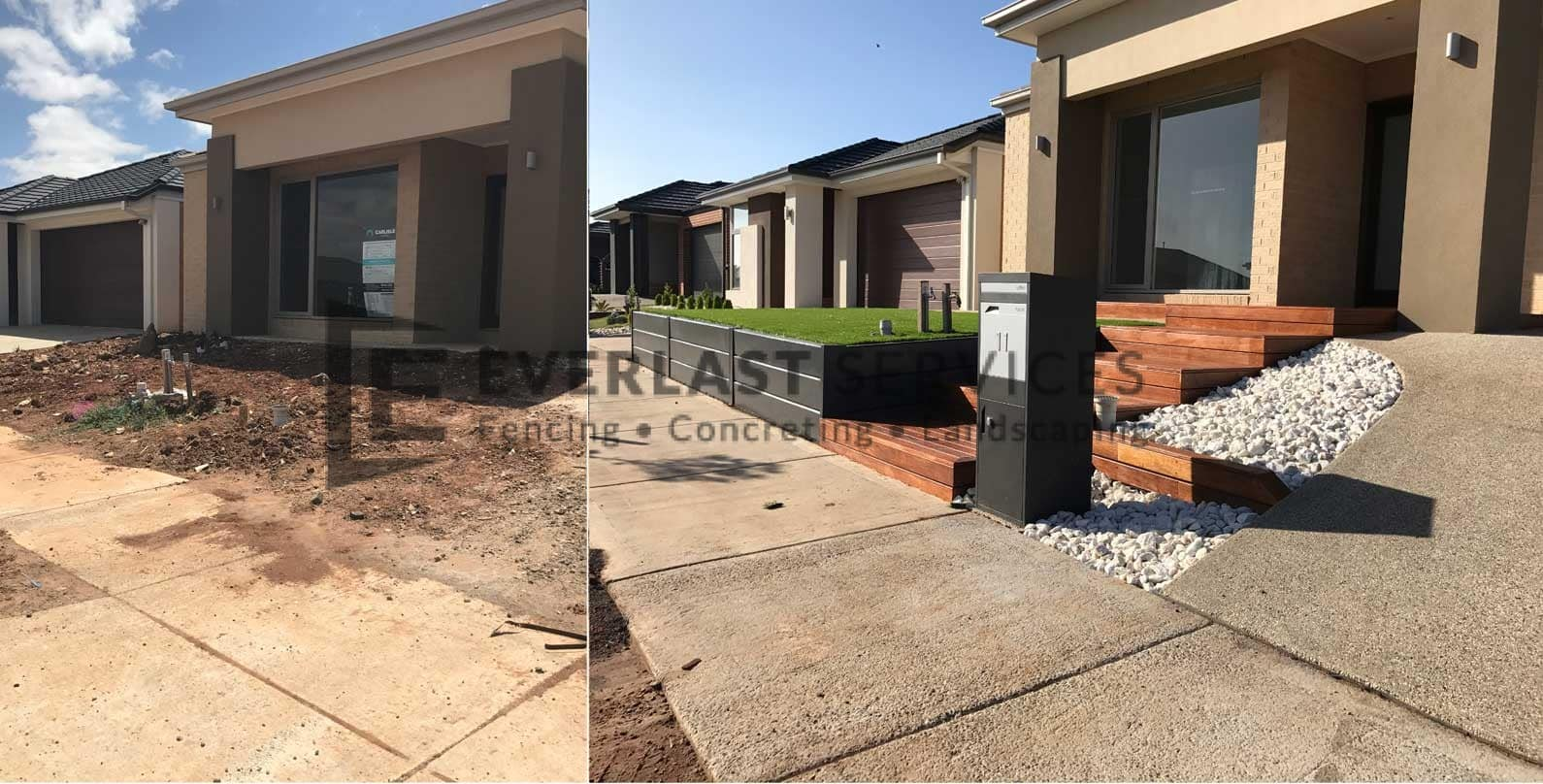 L61 - Merbau Decking Stairs + Concrete Retaining Wall + Exposed Aggregate Driveway