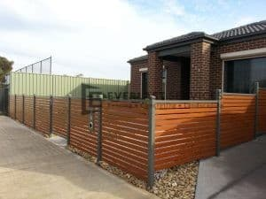 A47 - Woodland Grey Bar with WRC Slats Fencing Front Side View