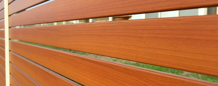 Aluminium slat fencing close up
