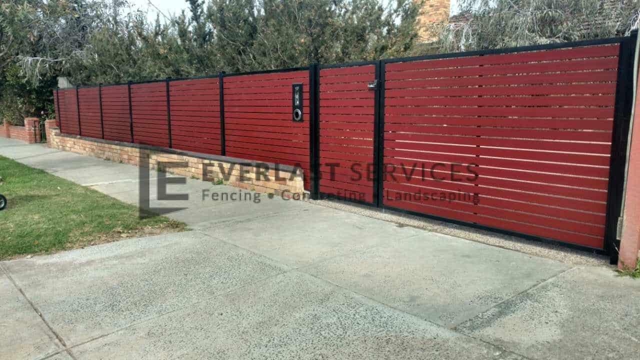 DG41 - Jarrah Aluminium Slats Double Gate
