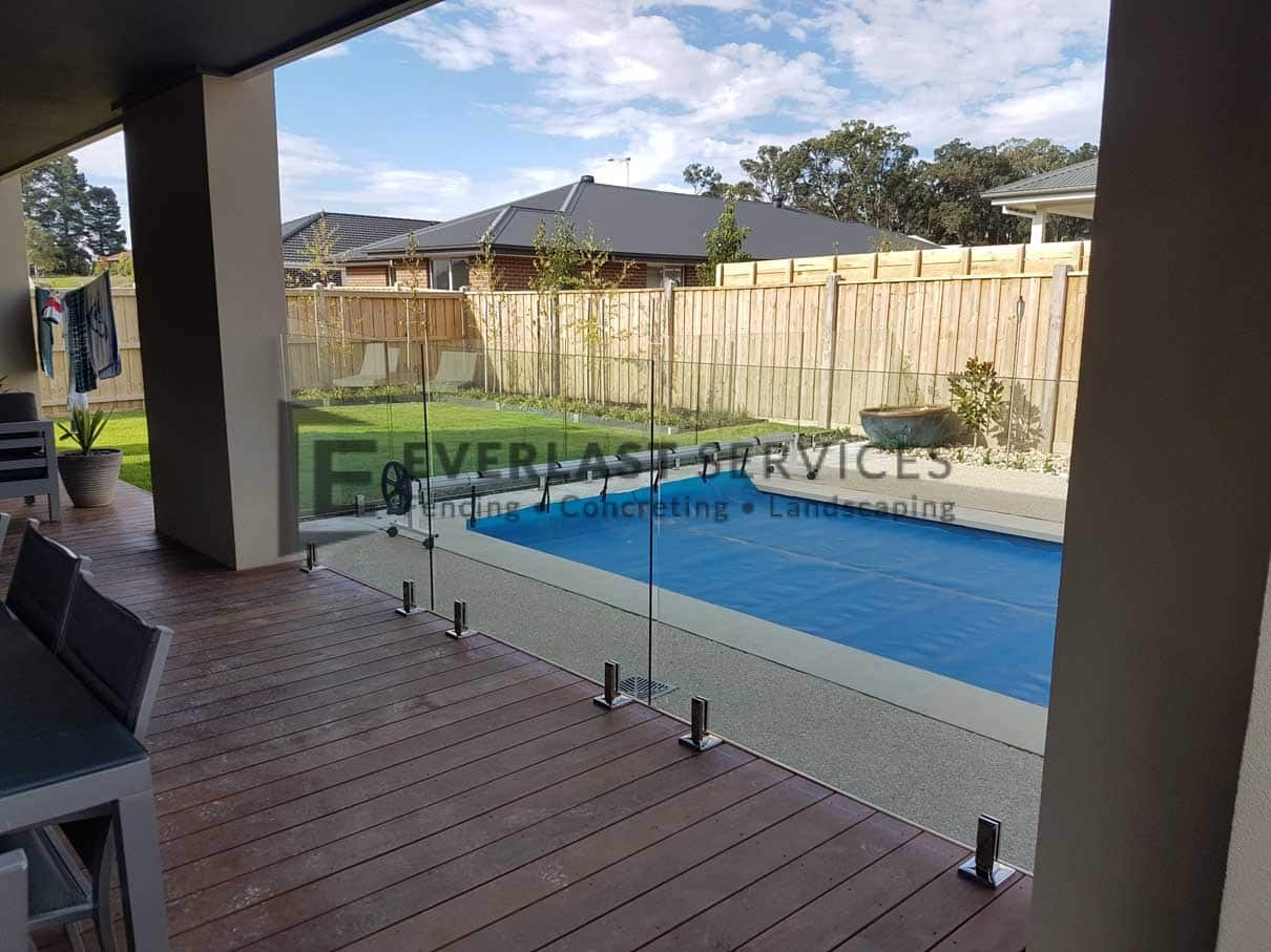 GF9 - Glass Pool Fencing over Decking
