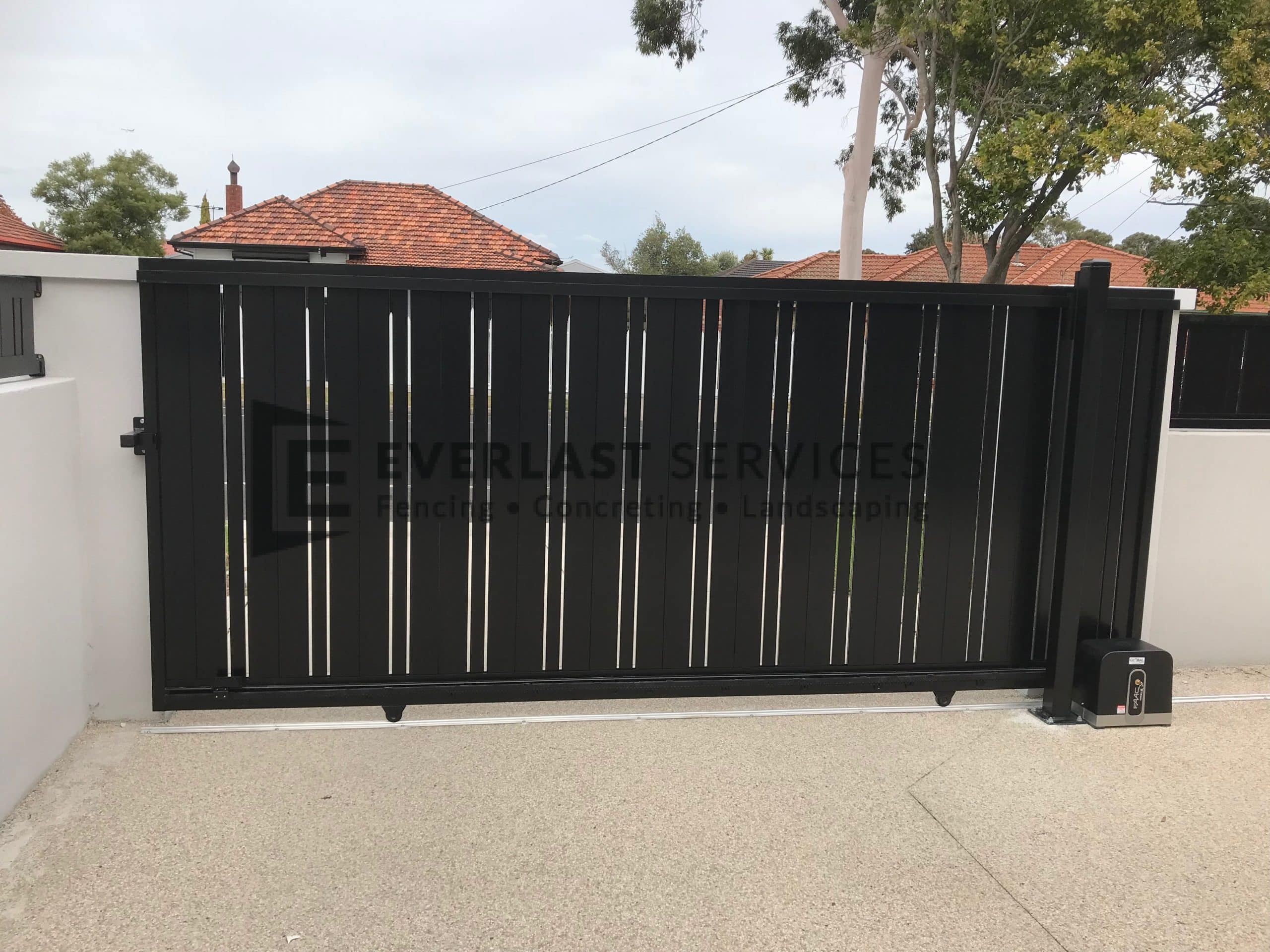 Double Custom Slats Vertical Sliding Gate View 1
