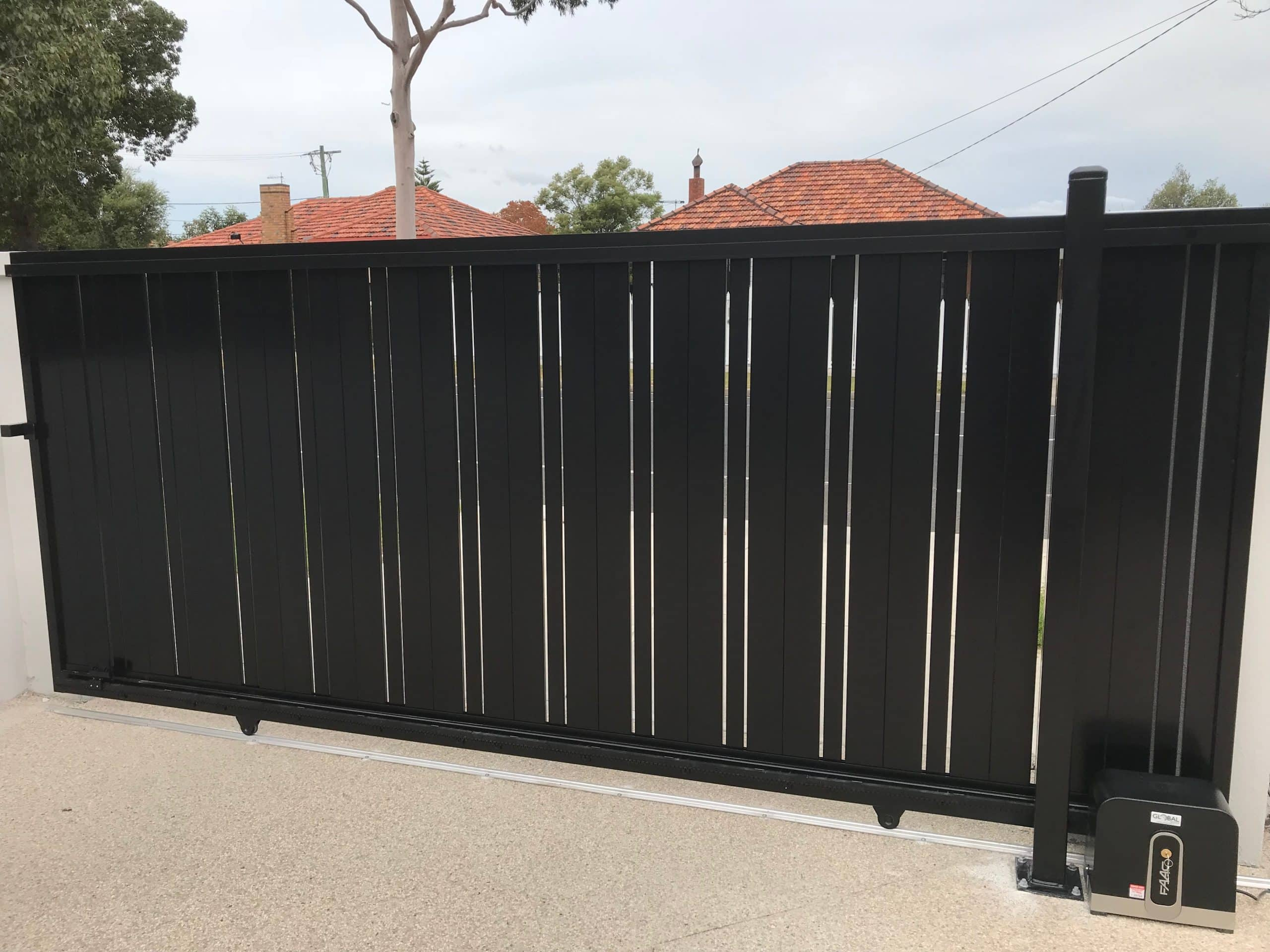Double Custom Slats Vertical Sliding Gate View 2