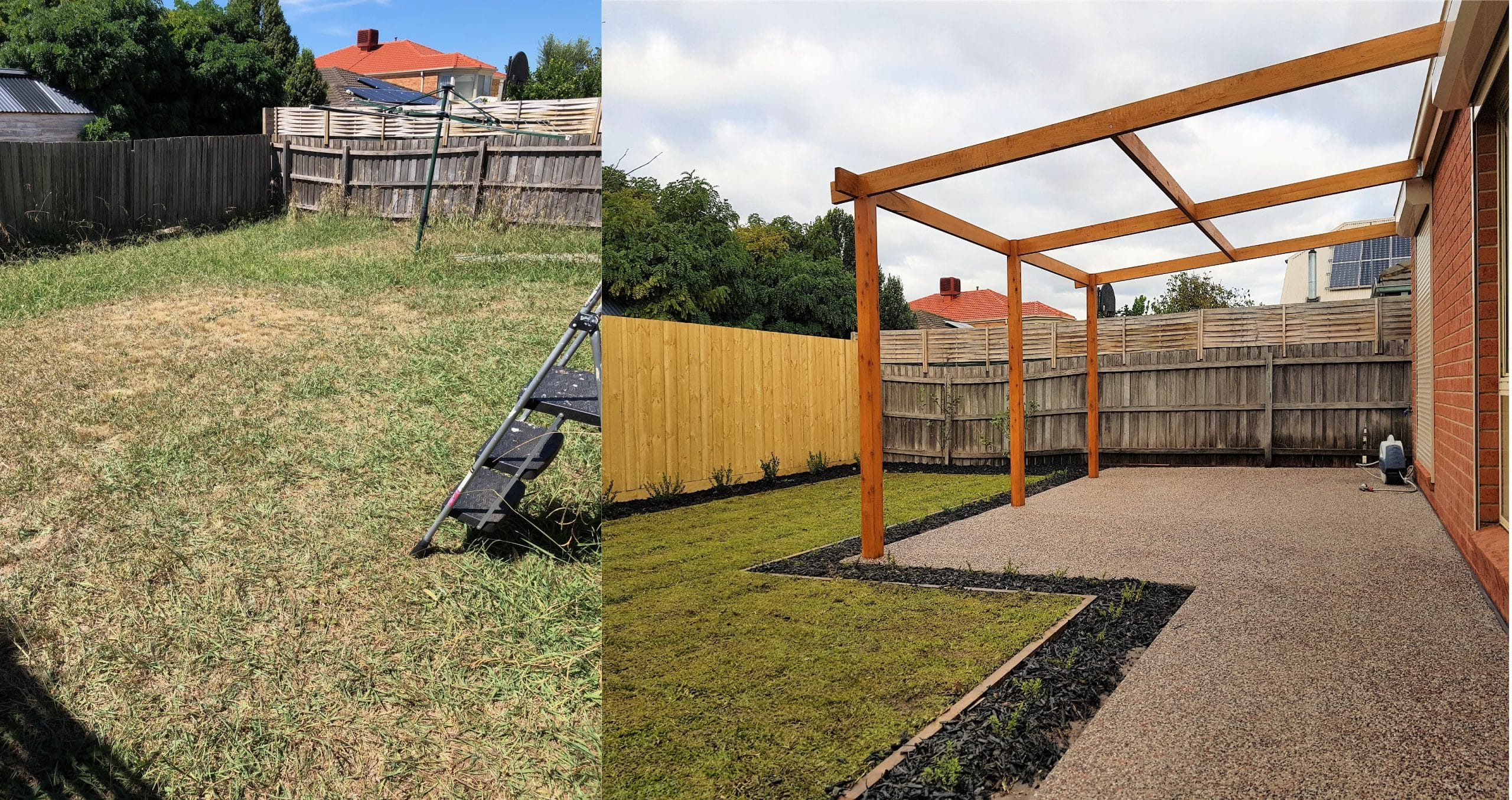 Before and After Back Landscaping