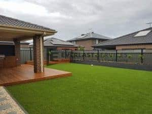 Synthetic Grass with Raised Cladded Garden Boxes