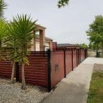 A240 - Black Post + Frame Jarrah Slats Fencing Side View