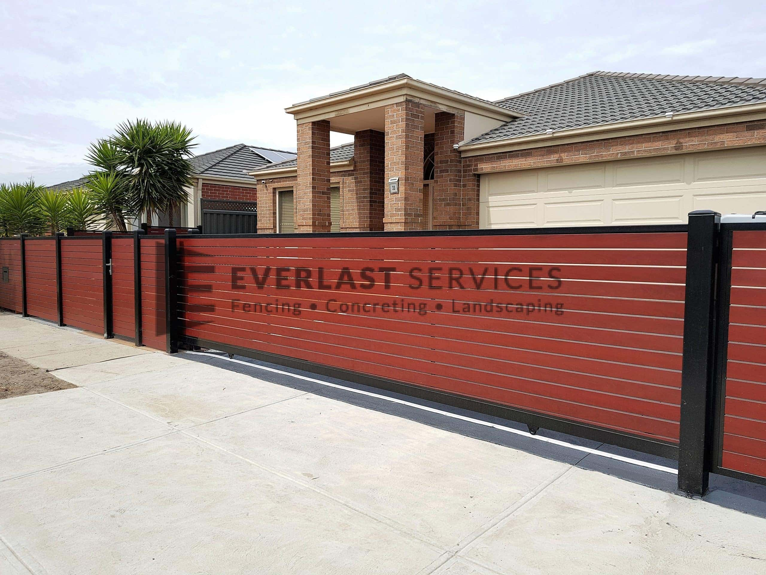 SS142 - Black Post + Frame Jarrah Slats Sliding Gate