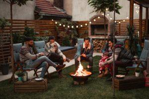 Sitting around a backyard fire pit
