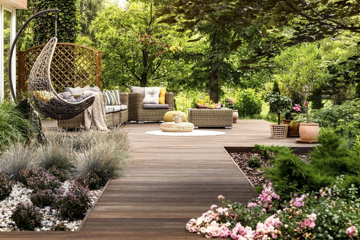 Garden in a beautiful backyard