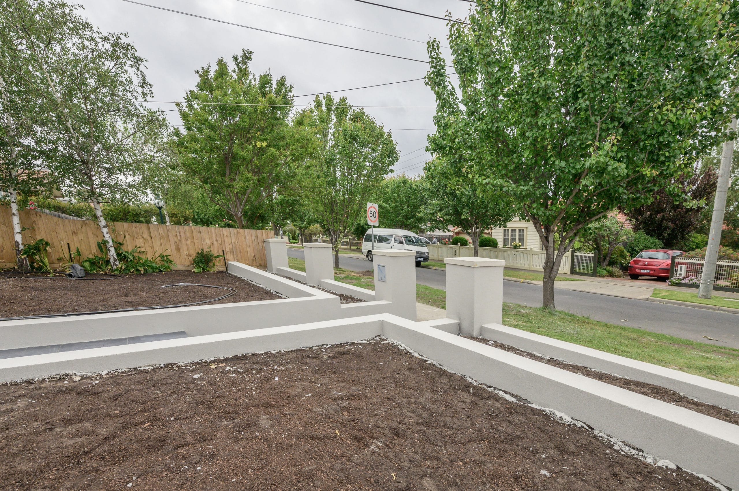 L263 - Essendon - Front yard looking at the fence - under construction