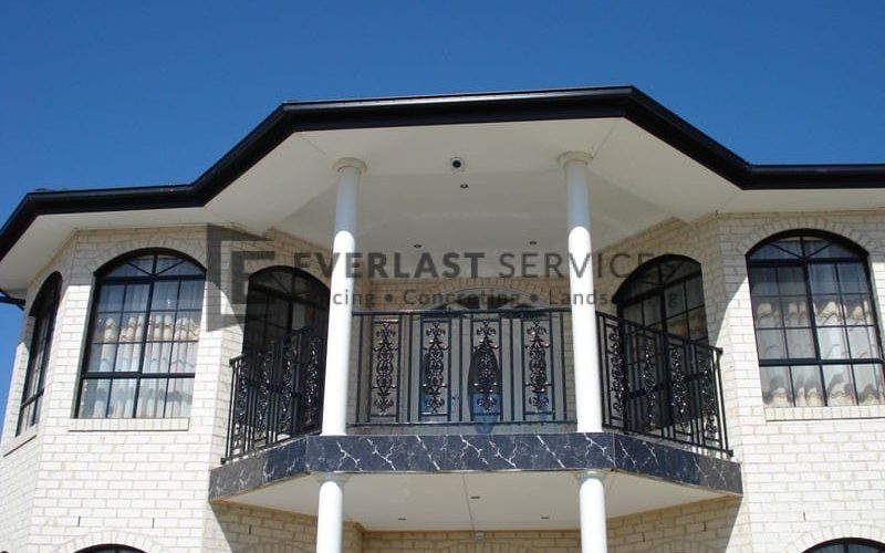 SF48 - Black Custom Pattern Steel Fencing Balustrade Front View