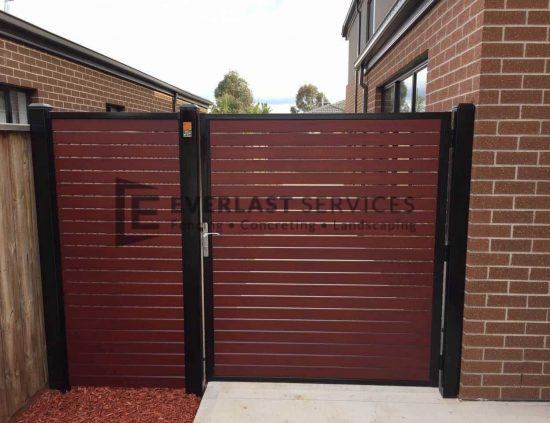 SS54 - Black Frame with Jarrah Slats Side Gate with Panel