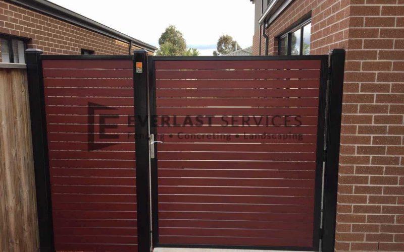 SS54 - Black Frame with Jarrah Slats Side Gate with Panel