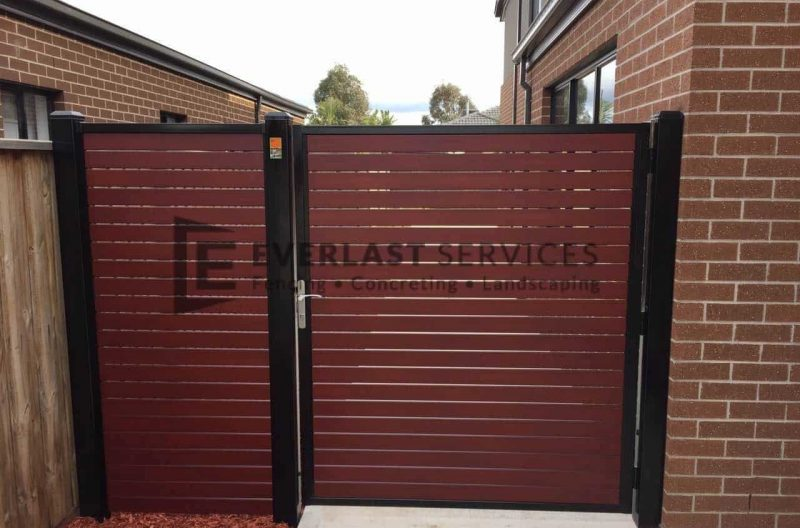 SS54 - Black Frame with Jarra Slats Side Gate with Panel