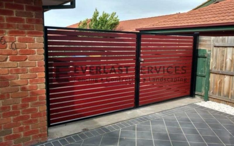 Steel Gates with timber slats Melbourne